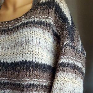 FP Alpaca Wool Blend XS Grey &Taupe Stripe Sweater